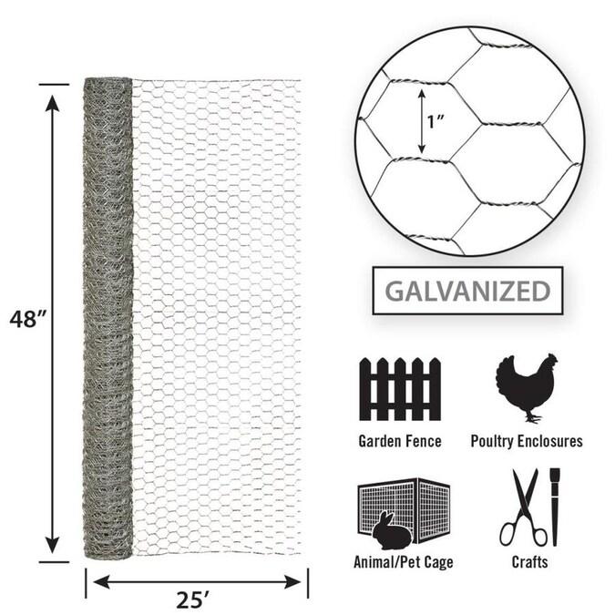 GARDEN CRAFT 25-ft x 4-ft Steel Steel Chicken Wire Garden