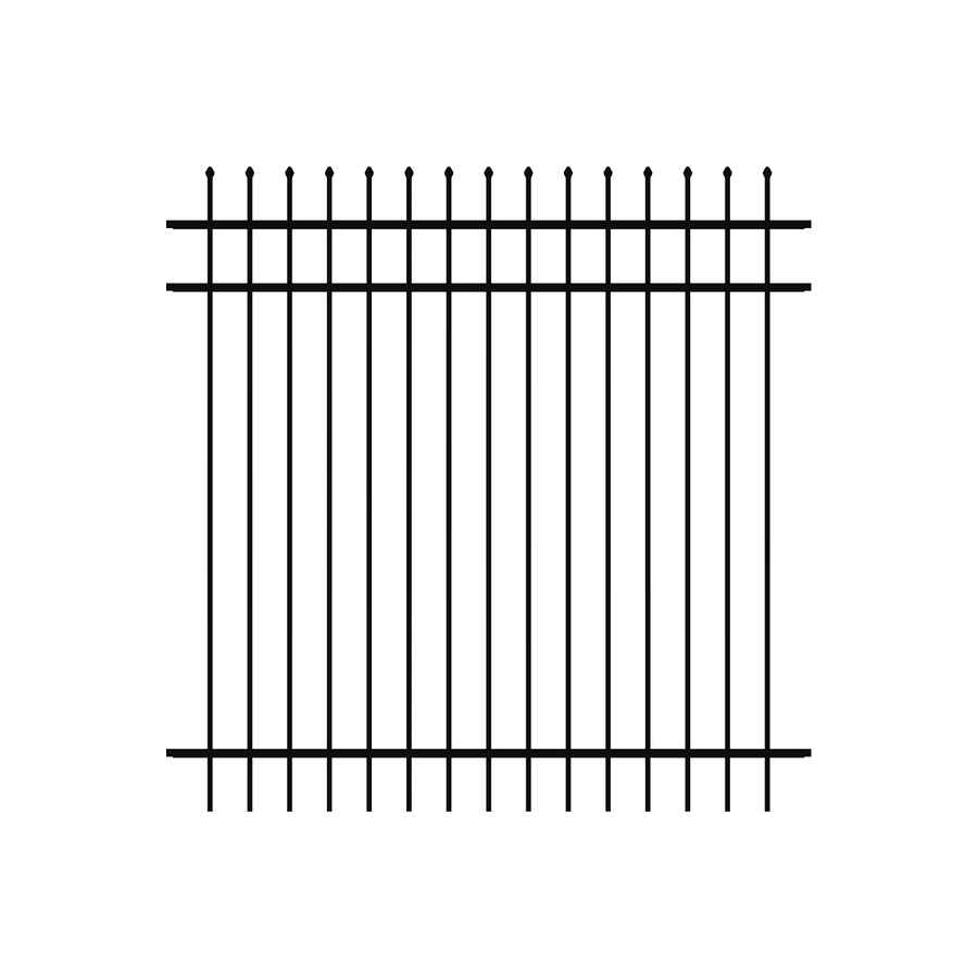 Ironcraft (Actual: 6-ft x 6-ft) Orleans Black Powder-Coated Aluminum Decorative Fence Panel