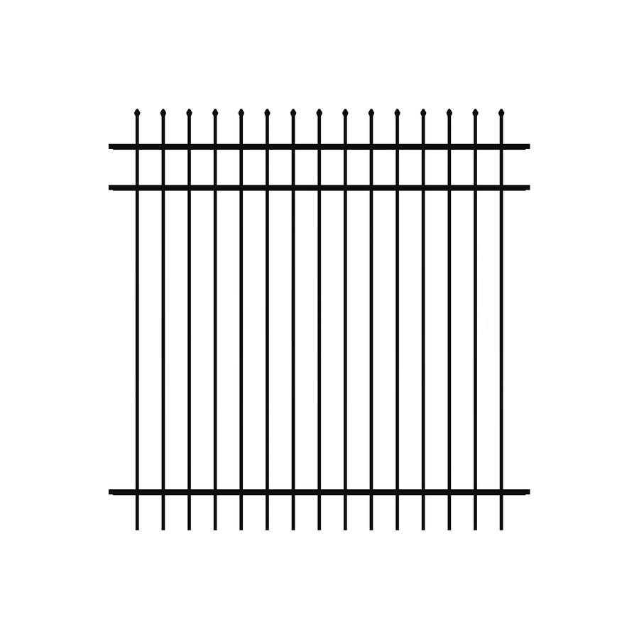 Ironcraft Orleans Black Powder-Coated Aluminum Decorative Fence Panel (Common: 6-ft x 6-ft; Actual: 6-ft x 6-ft)