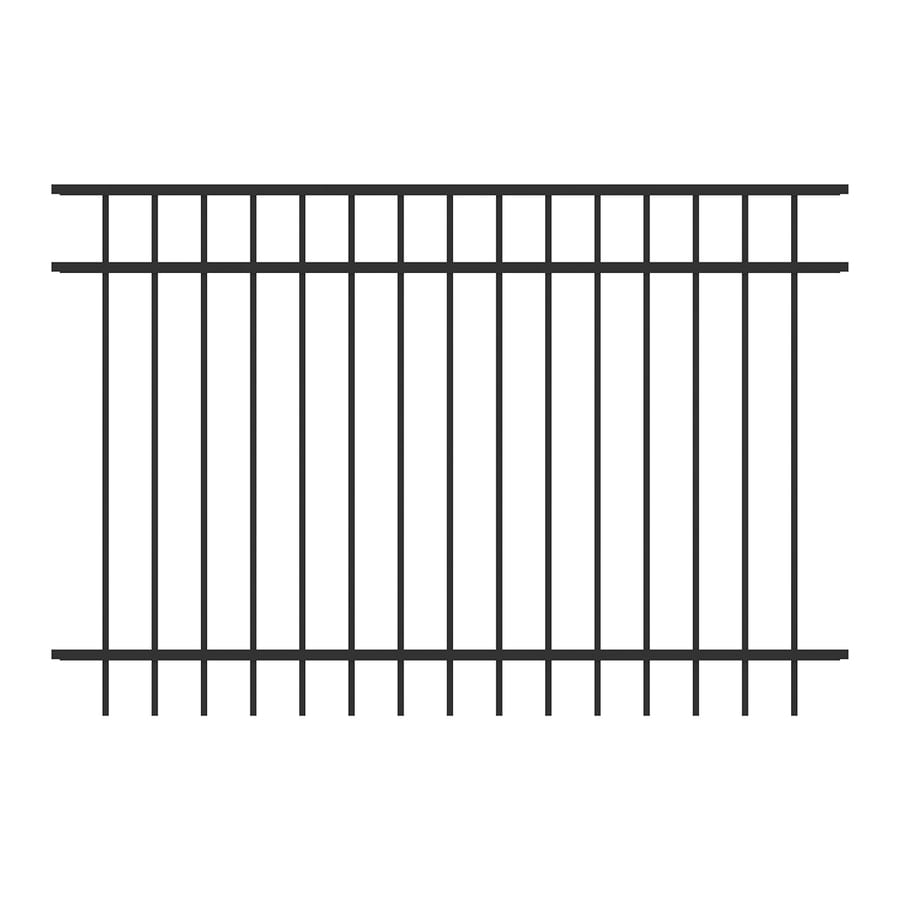 Ironcraft (Common: 4-ft x 6-ft; Actual: 4-ft x 6-ft) Berkshire Black Powder-Coated Aluminum Decorative Fence Panel