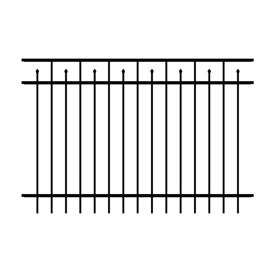Ironcraft (Actual: 4-ft x 6-ft) Hempsted Black Powder-Coated Aluminum Decorative Fence Panel