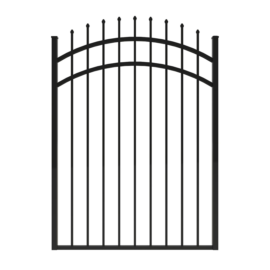 Ironcraft (Common: 5-ft x 4-ft; Actual: 5-ft x 3.92-ft) Black Powder-Coated Aluminum Decorative Fence Gate