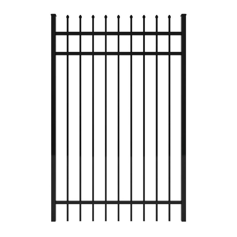 Ironcraft (Common: 6-ft x 4-ft; Actual: 6-ft x 3.92-ft) Black Powder-Coated Aluminum Decorative Fence Gate