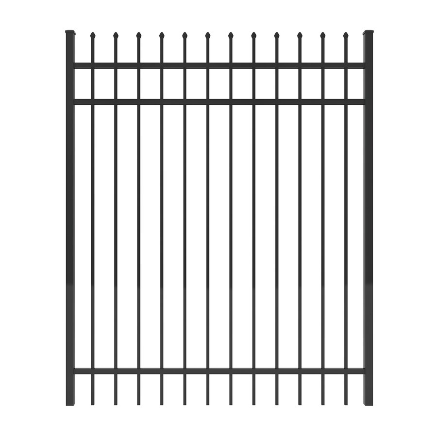 Ironcraft (Common: 6-ft x 5-ft; Actual: 6-ft x 4.92-ft) Black Powder-Coated Aluminum Decorative Fence Gate