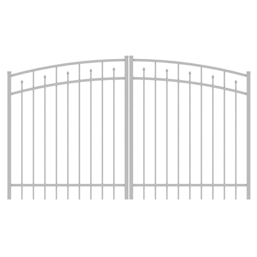 Ironcraft (Common: 4-ft x 8-ft; Actual: 4-ft x 7.83-ft) White Powder-Coated Aluminum Decorative Fence Gate