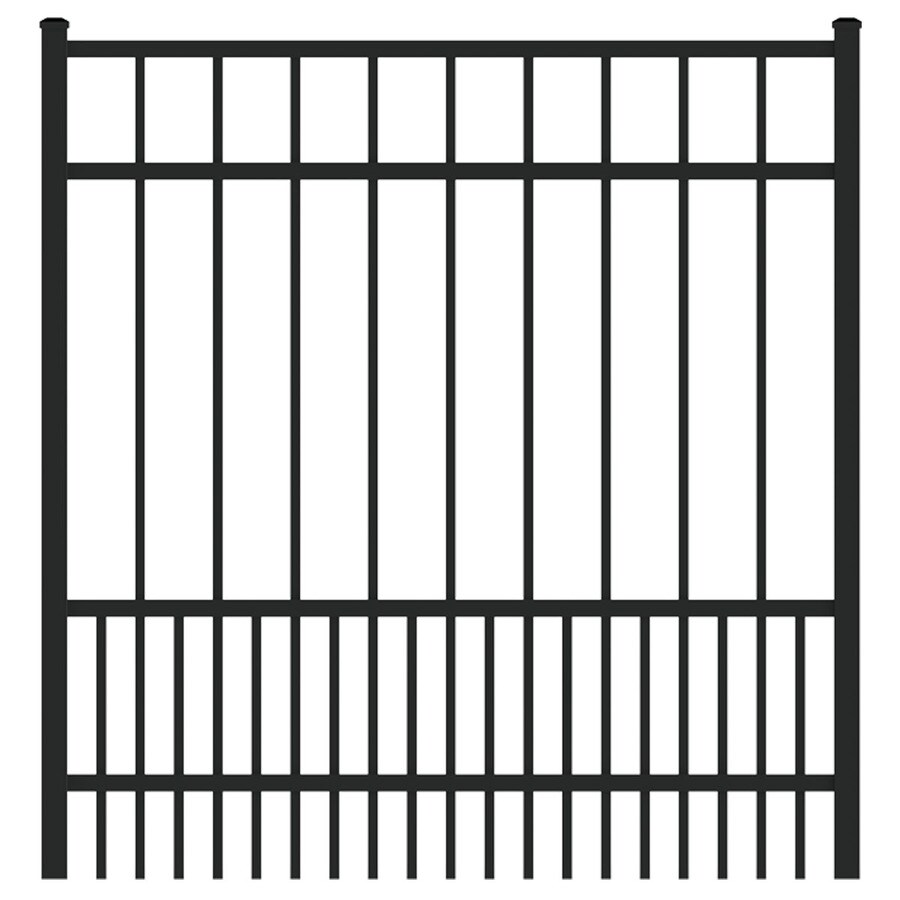 Ironcraft (Common: 4-ft x 4-ft; Actual: 4-ft x 3.92-ft) Black Powder-Coated Aluminum Decorative Fence Gate