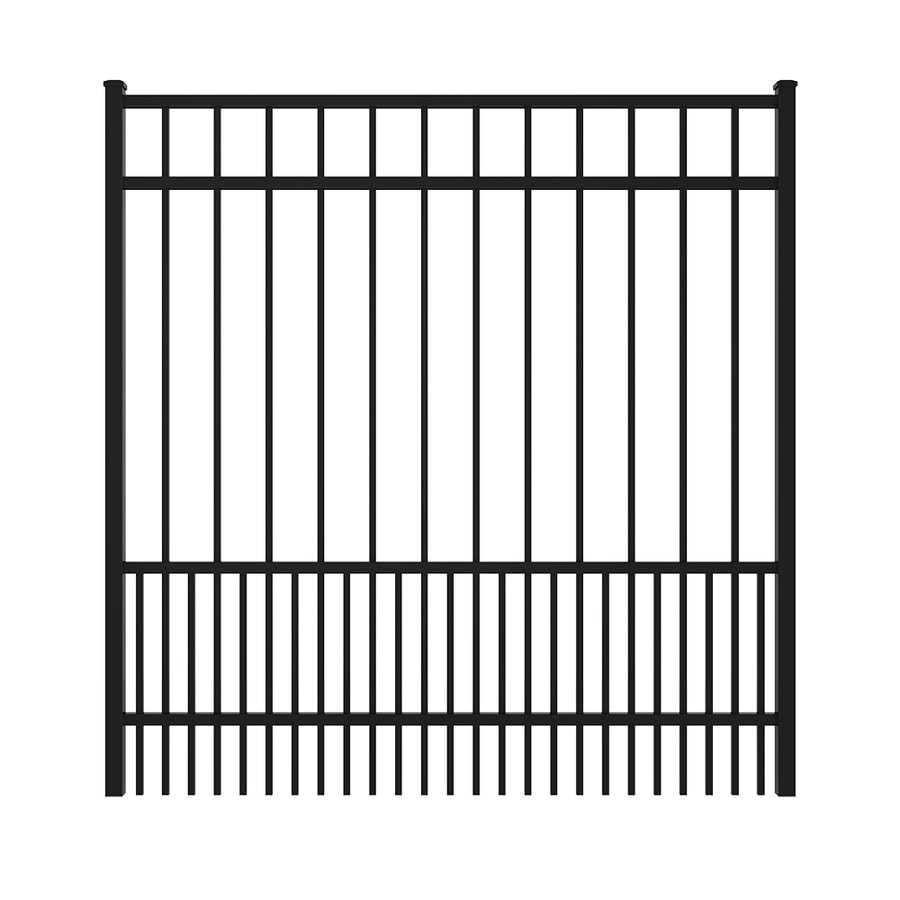 Ironcraft (Common: 5-ft x 6-ft; Actual: 5.08-ft x 5.92-ft) Black Powder Coated Aluminum Decorative Fence Gate