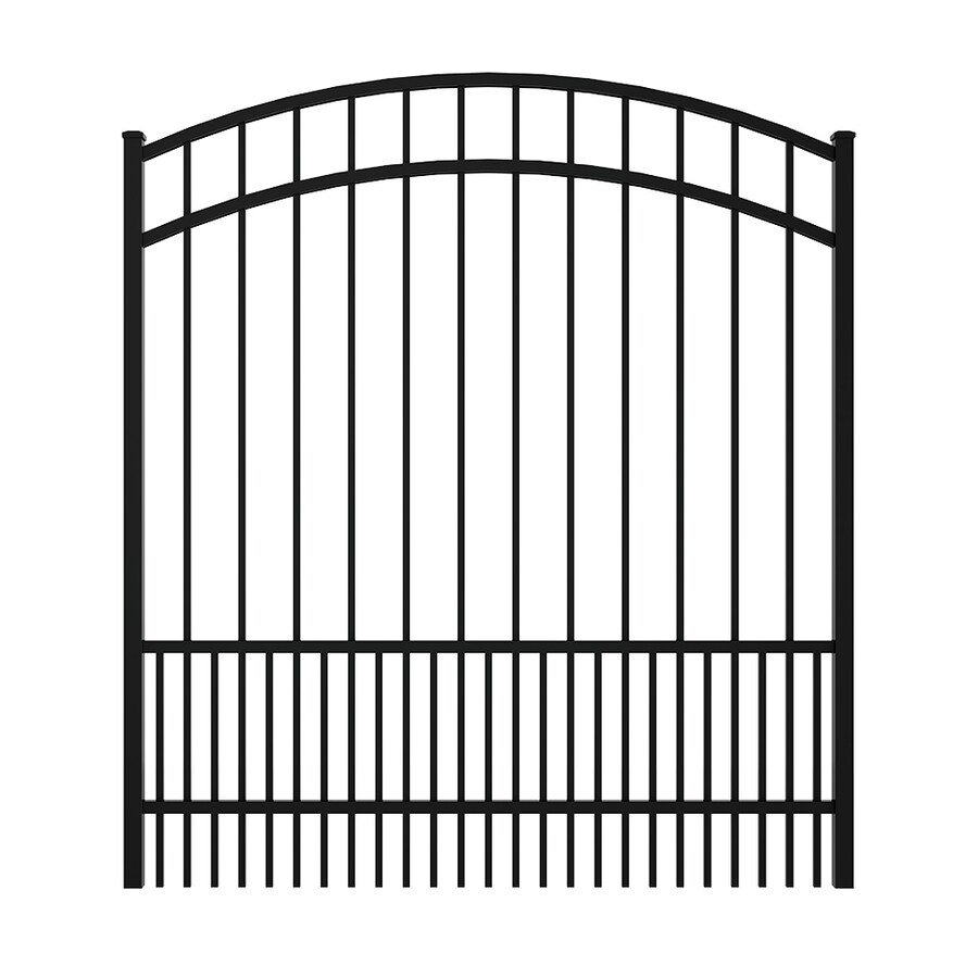 Ironcraft (Common: 5-ft x 5-ft; Actual: 5.5-ft x 4.92-ft) Black Powder Coated Aluminum Decorative Fence Gate