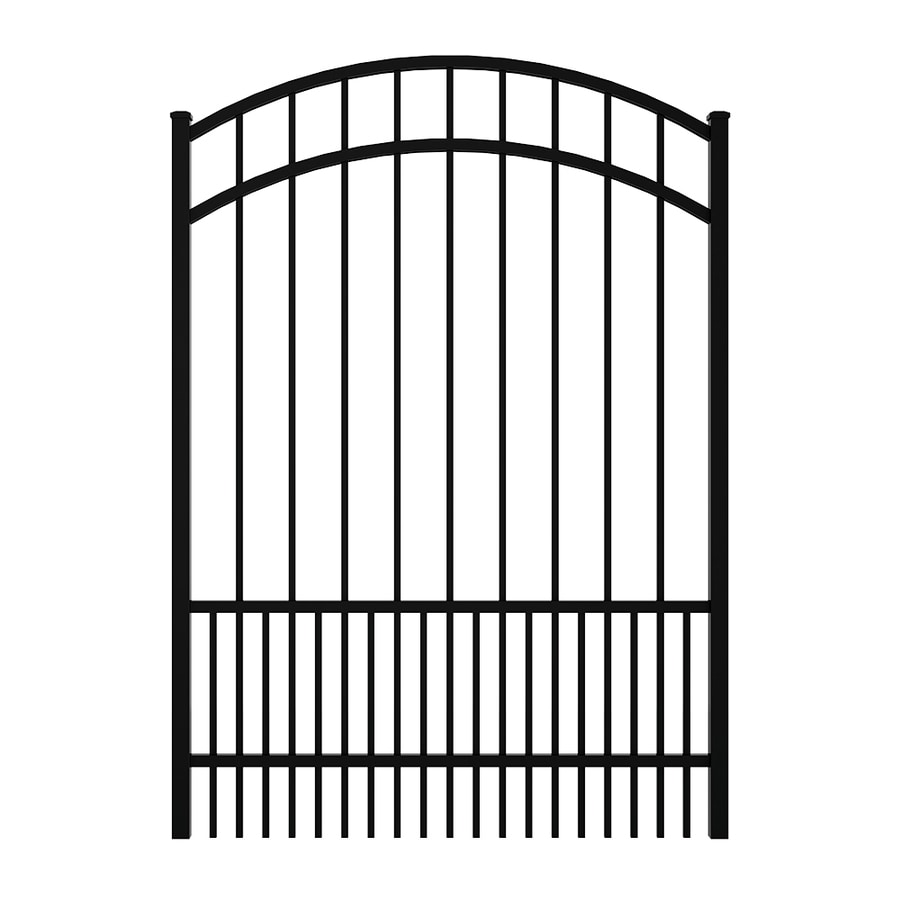 Ironcraft (Common: 5-ft x 4-ft; Actual: 5.5-ft x 3.9-ft) Black Powder Coated Aluminum Decorative Fence Gate