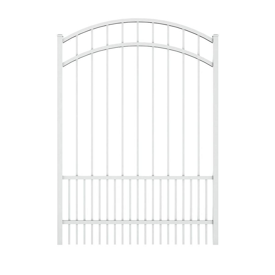 Ironcraft White Powder Coated Aluminum Decorative Fence Gate (Common: 5-ft x 4-ft; Actual: 5.5-ft x 3.9-ft)