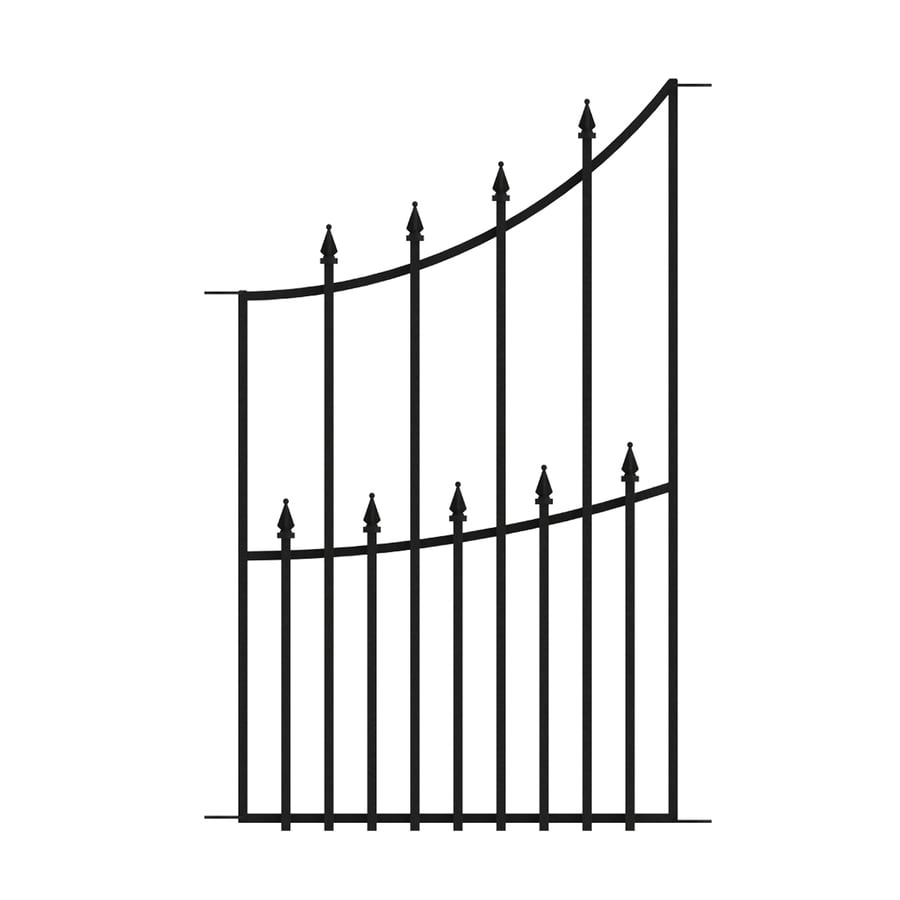 No Dig (Actual: 3.1-ft x 1.8-ft) Grand Empire Black Powder-Coated Steel Decorative Fence Panel