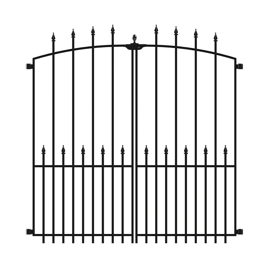 No Dig Powder-Coated Steel Decorative Fence Gate (Common: 3.94-ft x 3.96-ft; Actual: 3.94-ft x 3.96-ft)