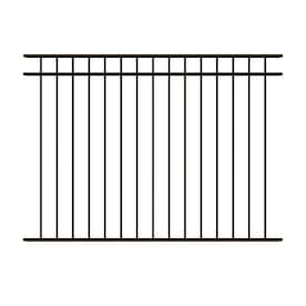 Ironcraft (Actual: 4.3-ft x 6-ft) Berkshire Deluxe Berkshire Deluxe Black/Powder-Coated Aluminum Flat-Top Decorative Metal Fence Panel