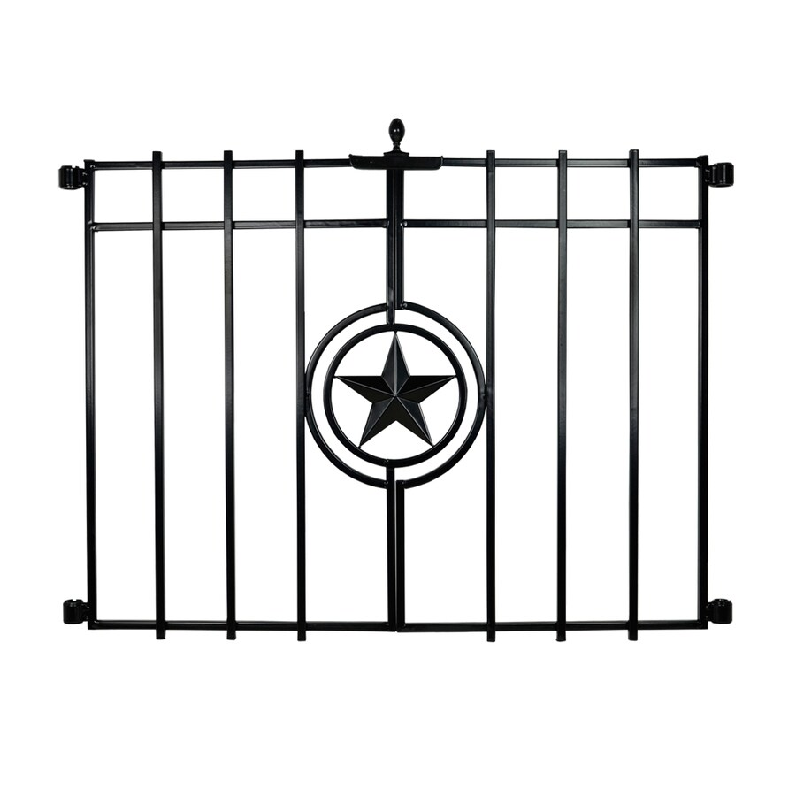 No Dig Lone Star Black Powder-Coated Steel Decorative Fence Gate (Common: 2.3-ft x 1.88-ft; Actual: 2.3-ft x 1.88-ft)