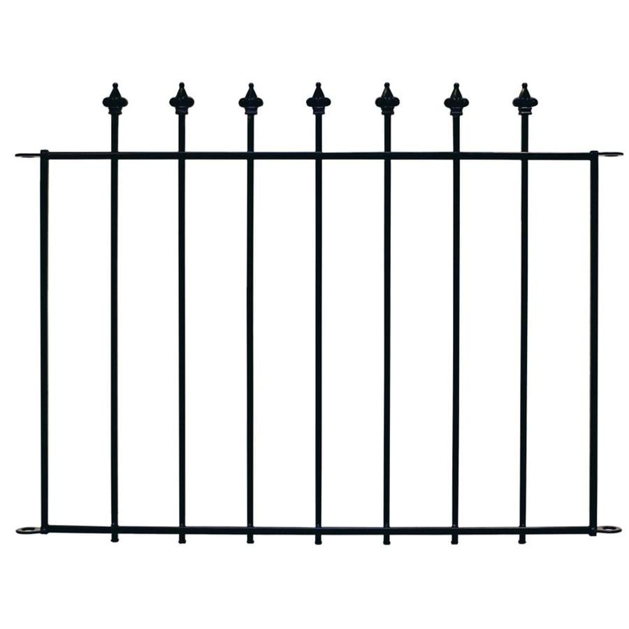 No Dig Black Powder-Coat Steel Decorative Fence Panel