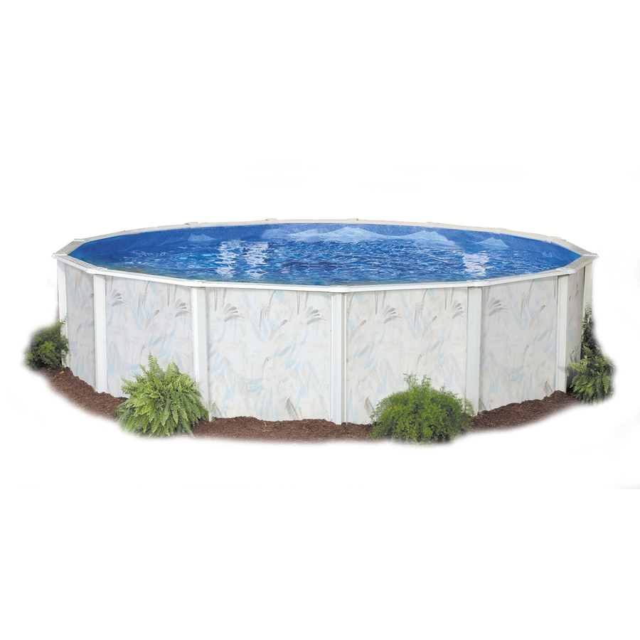Shop embassy poolco lakeshore 12 ft x 20 ft x 52 in oval for Pool oval aufstellbecken