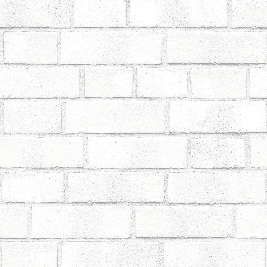 Tempaper Single Rolls White Vinyl Brick Wallpaper