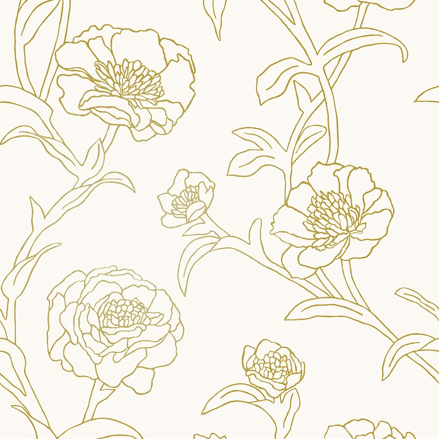 Tempaper Single-Roll 28-sq ft Gold Leaf Vinyl Floral Peel and Stick Wallpaper