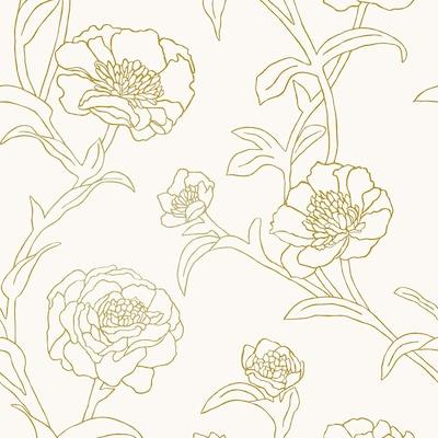 Tempaper Single Rolls 28 Sq Ft Gold Leaf Vinyl Floral Self