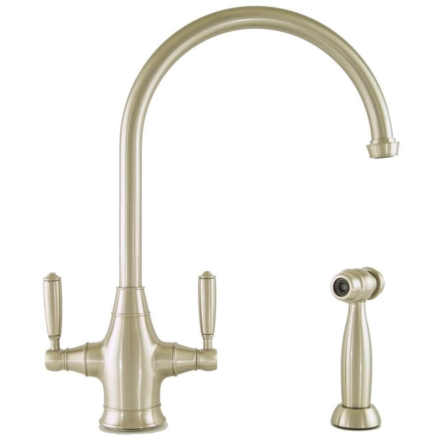 Mico Designs Chester Satin Nickel 2-Handle High-Arc Kitchen Faucet with Side Spray