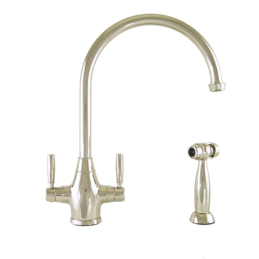Mico Designs Churchill Polished Nickel 2-Handle High-Arc Kitchen Faucet with Side Spray