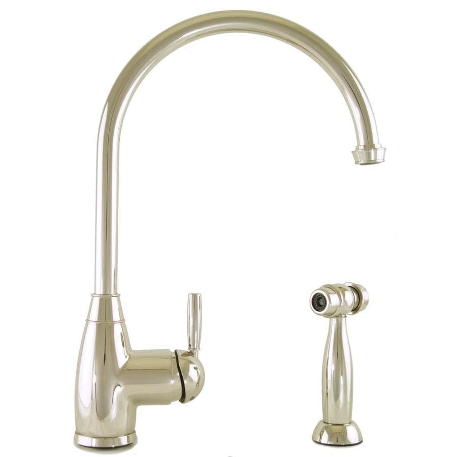 Mico Designs Churchill Polished Nickel 1-Handle High-Arc Kitchen Faucet with Side Spray