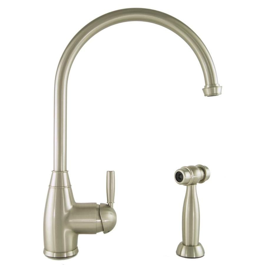 Mico Designs Churchill Satin Nickel 1-Handle Handle(S) Included High-Arc Sink/Counter Mount Traditional Kitchen Faucet Side Spray Included