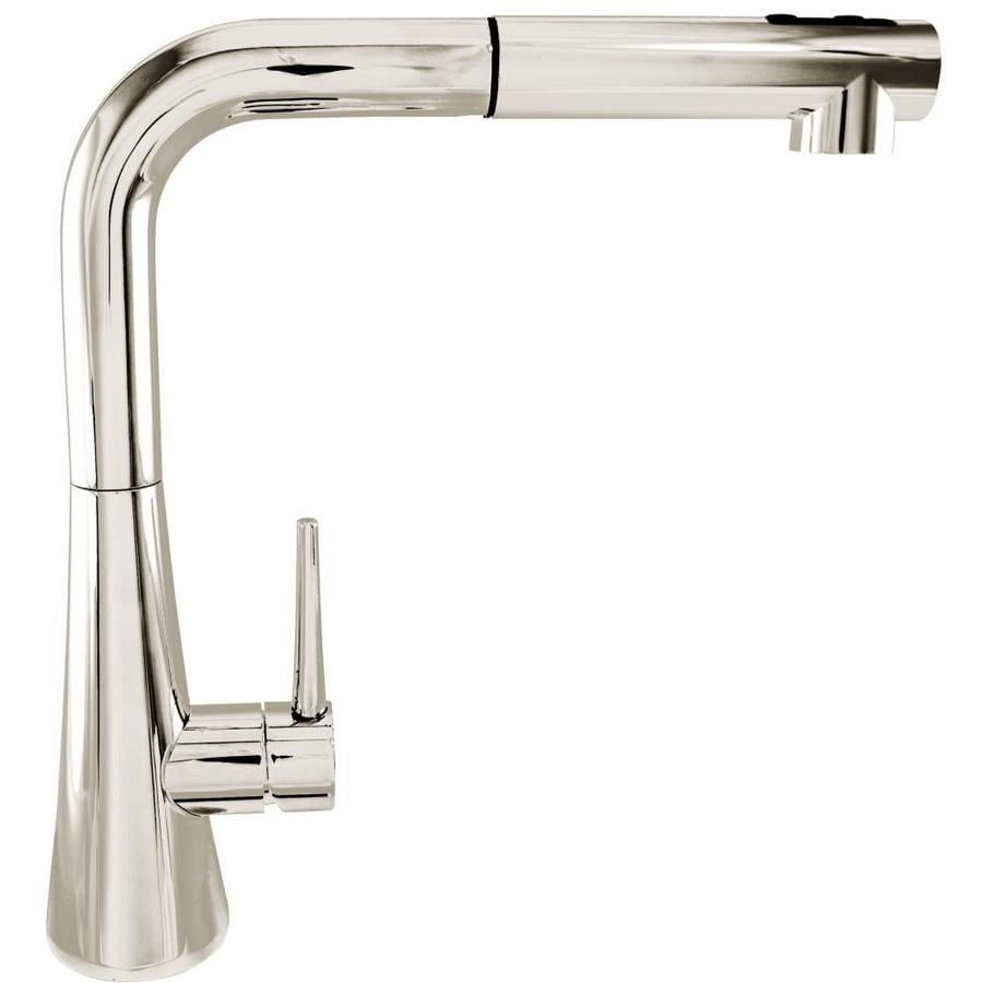 Shop Mico Designs Churchill Polished Nickel 1 Handle Deck Mount Pull Out Kitchen Faucet At