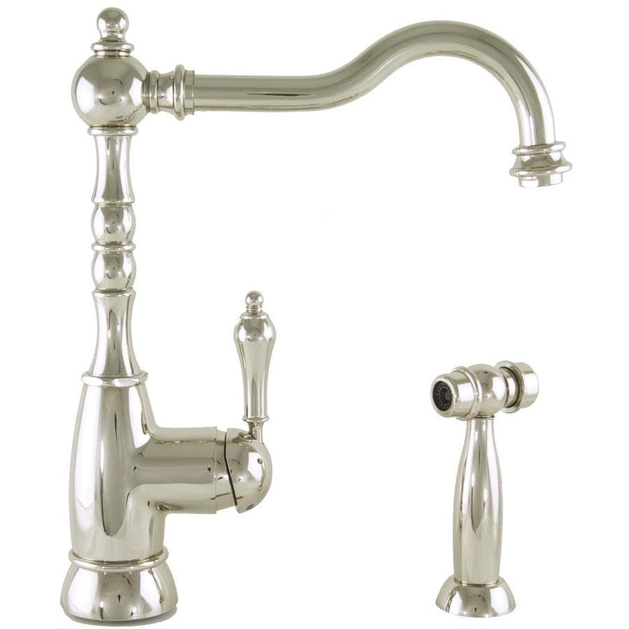 Mico Designs Braxton Polished Nickel 1-Handle High-Arc Kitchen Faucet with Side Spray