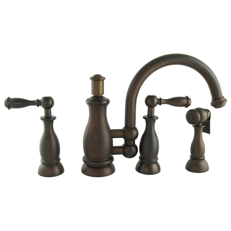 Mico Designs Seashore Mahogany Bronze 2-Handle High-Arc Kitchen Faucet with Side Spray