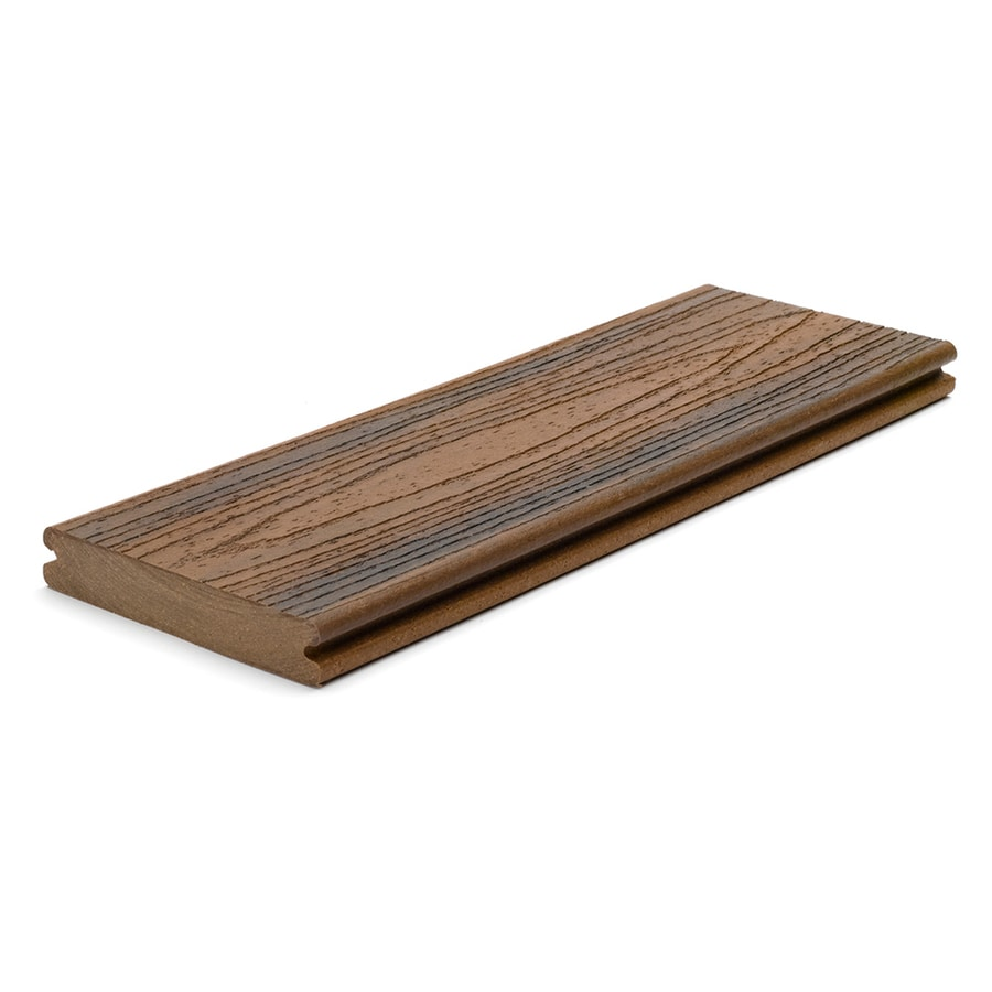 Trex (Actual: 0.94-in x 5.5-in x 12-ft) Transcend Spiced Rum Grooved Composite Deck Board