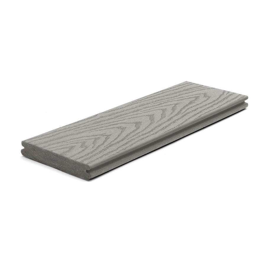Trex (Actual: 0.82-in x 5.5-in x 12 Feet) Select Pebble Grey Grooved Composite Deck Board