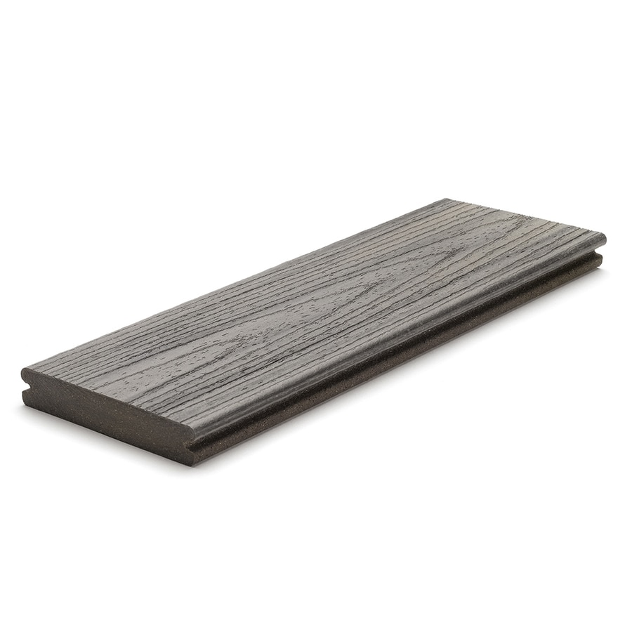 Shop trex transcend 12 ft island mist grooved composite for Composite deck boards reviews