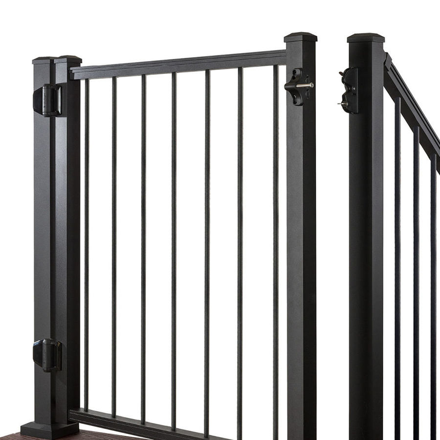 Trex (Common: 3.5-ft x 4-ft; Actual: 3.46-ft x 3.87-ft) Gates Charcoal Black Aluminum Decorative Fence Gate