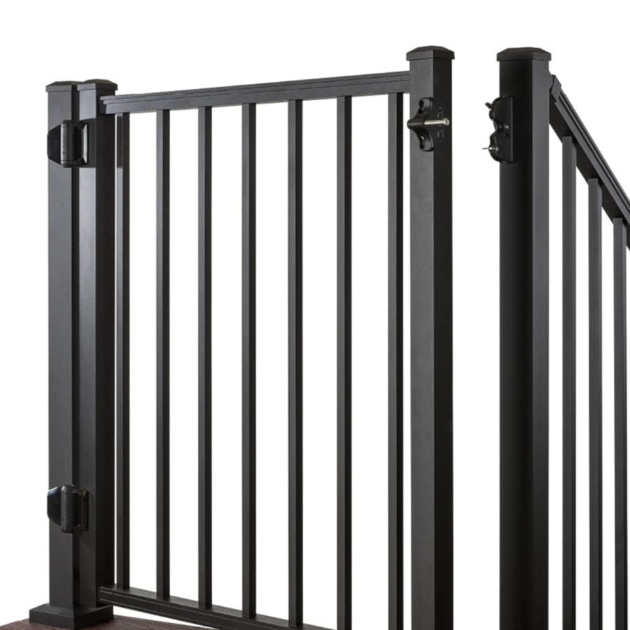 Trex (Common: 3-ft x 4-ft; Actual: 2.96-ft x 3.87-ft) Gates Charcoal Black Aluminum Decorative Fence Gate