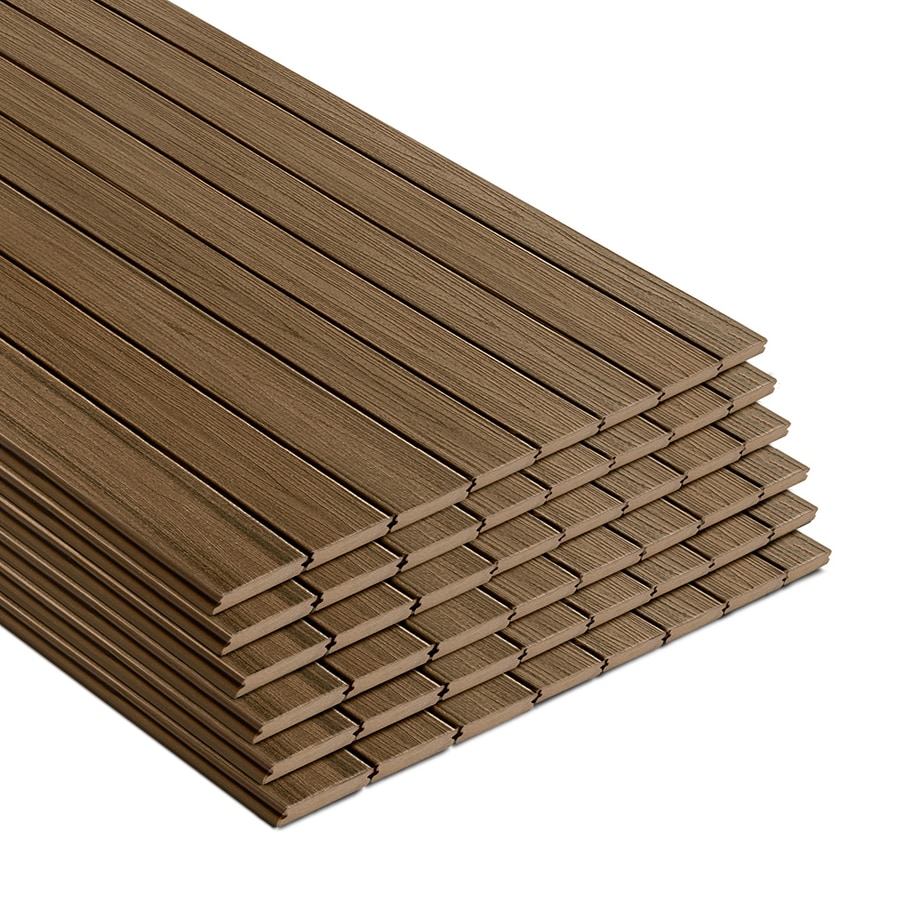 Trex (Actual: 0.9400-in x 5.5000-in x 16-ft) Transcend Havana Gold Grooved Composite Deck Board