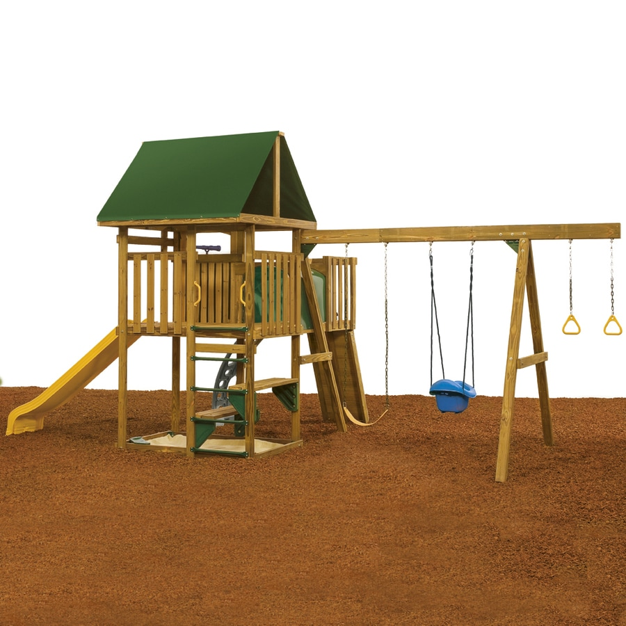 PlayStar Legend Bronze Wood Playset with Swings