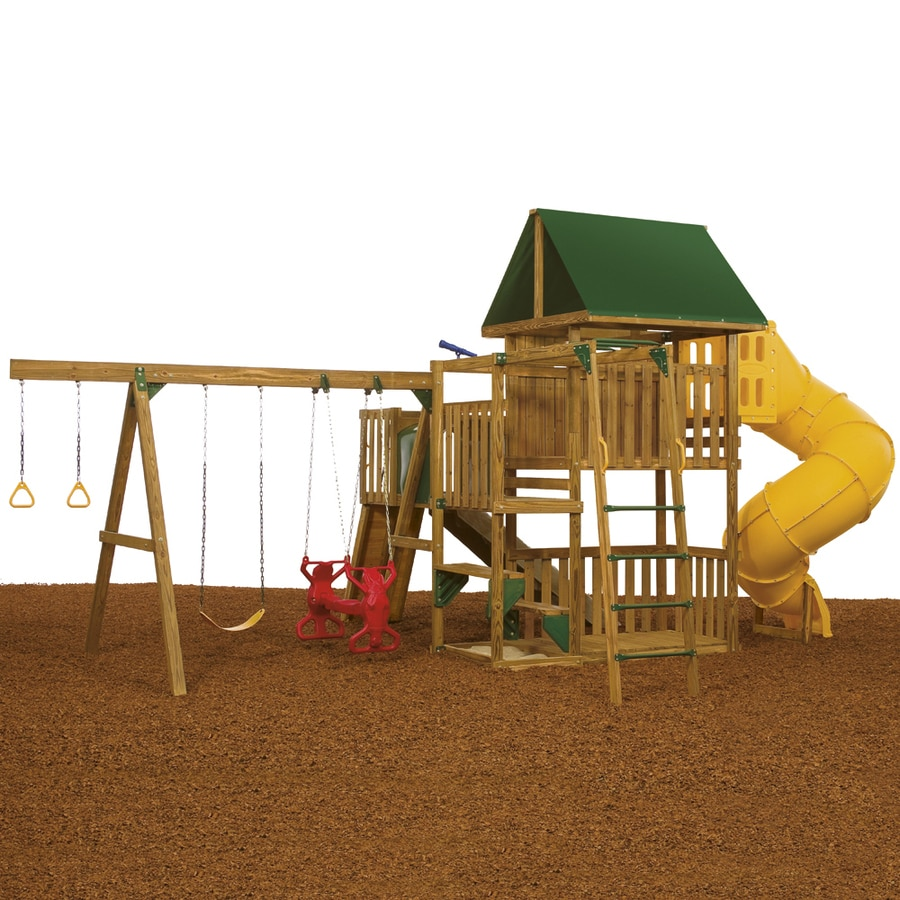 PlayStar Great Escape Gold Wood Playset with Swings