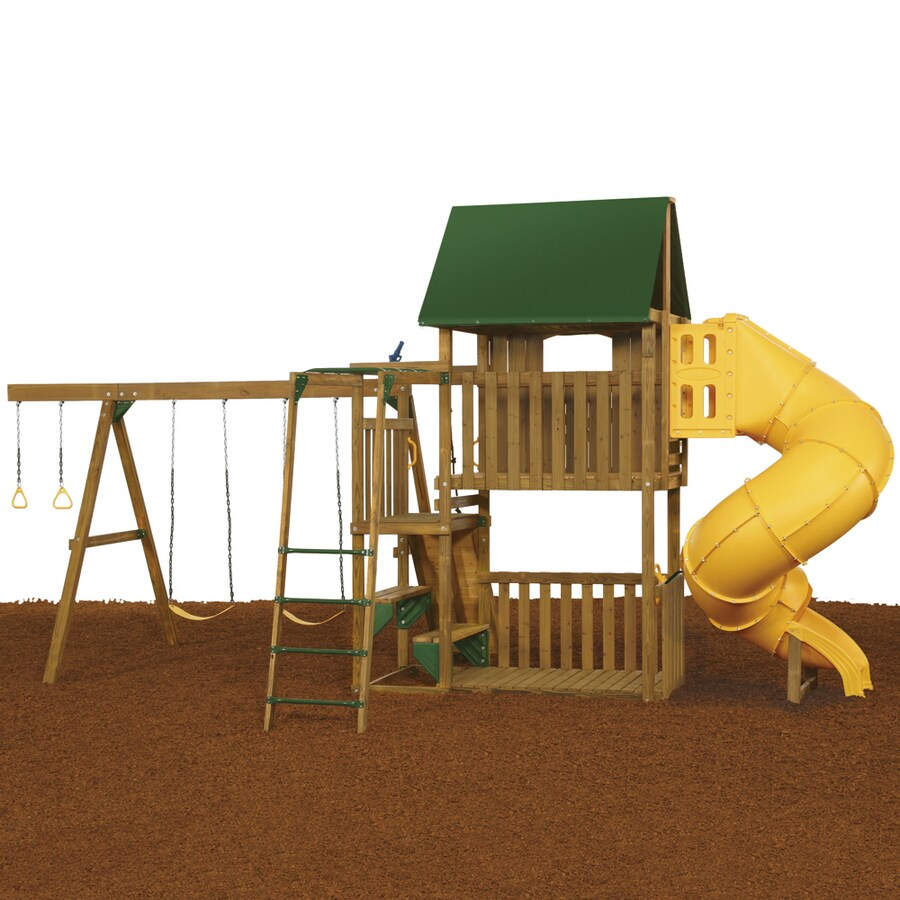 PlayStar Great Escape Silver Wood Playset with Swings