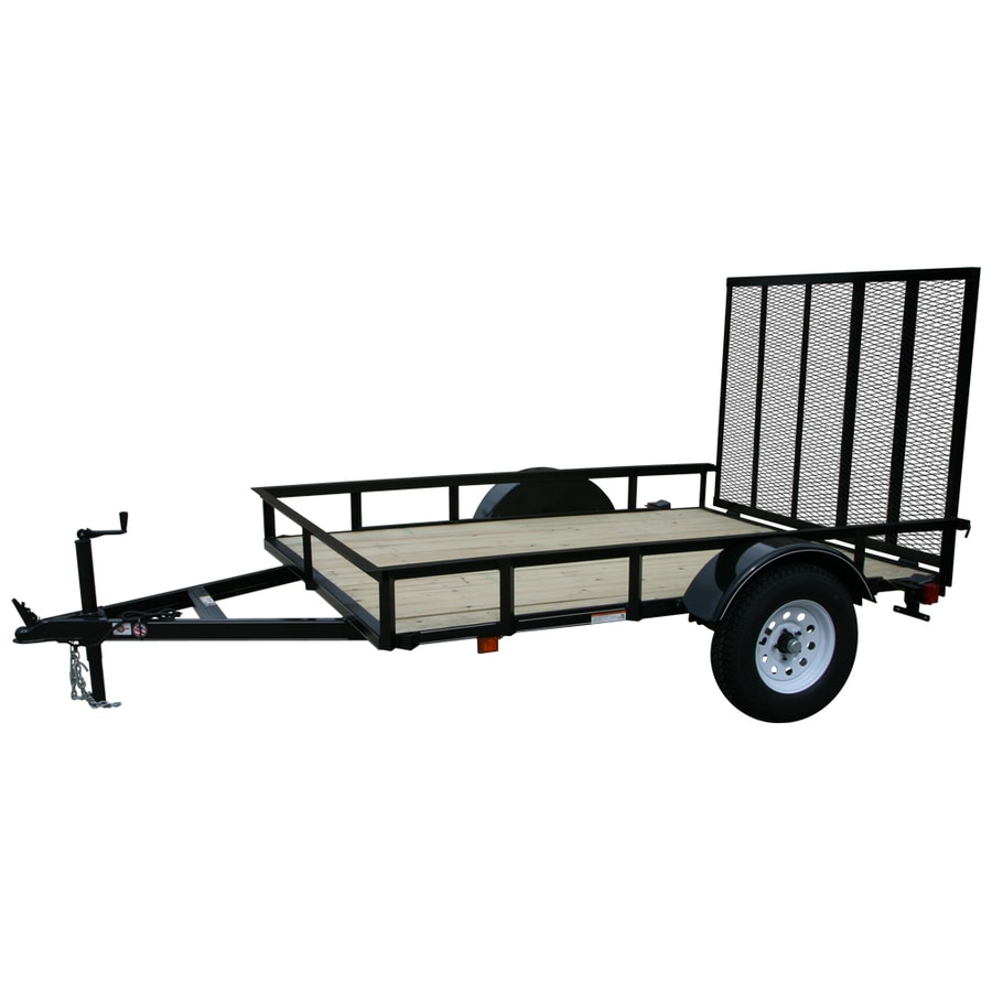 Shop carry on trailer 5 ft x 8 ft treated lumber utility for Wood floor utility trailer