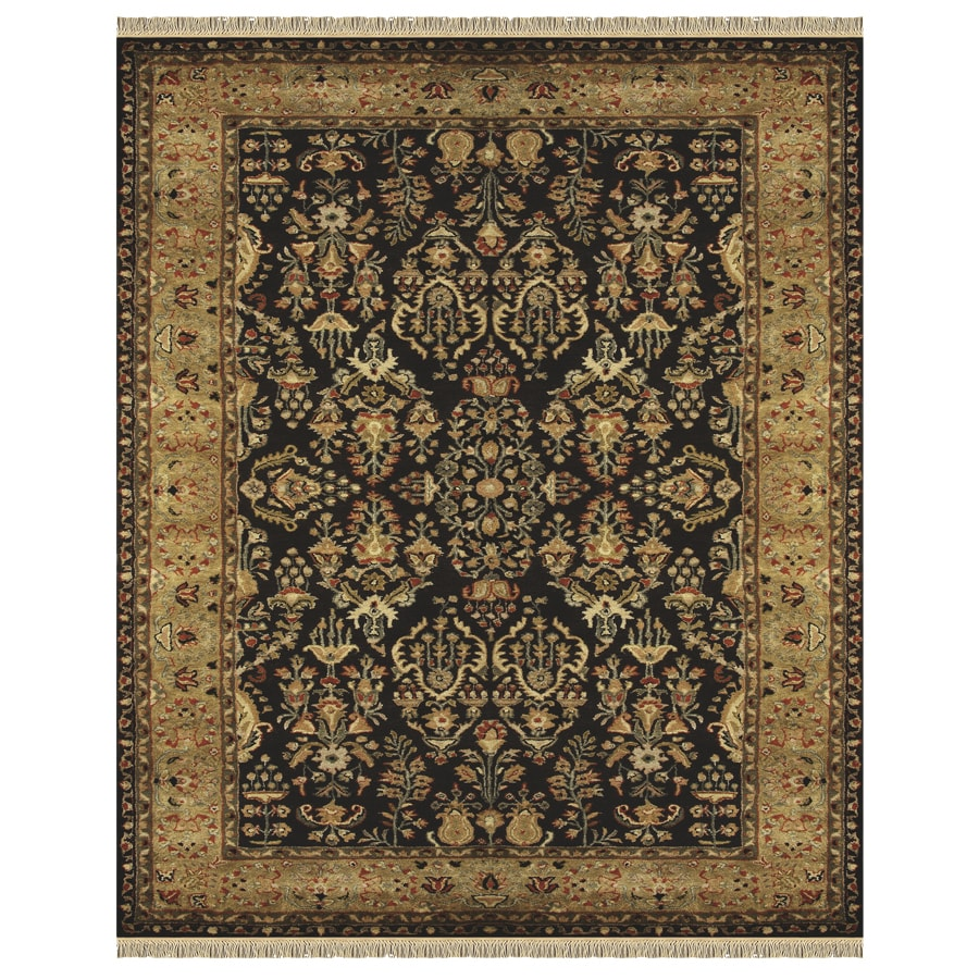 Alegra Rectangular Black Floral Tufted Wool Area Rug (Common: 8-ft x 10-ft; Actual: 8-ft x 11-ft)