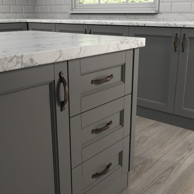 Center Aged Bronze Arch Handle Cabinet