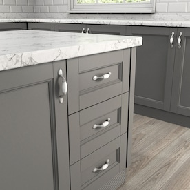 allen + roth 3-in Center to Center Satin Nickel and Porcelain White Arch Cabinet Door Pull