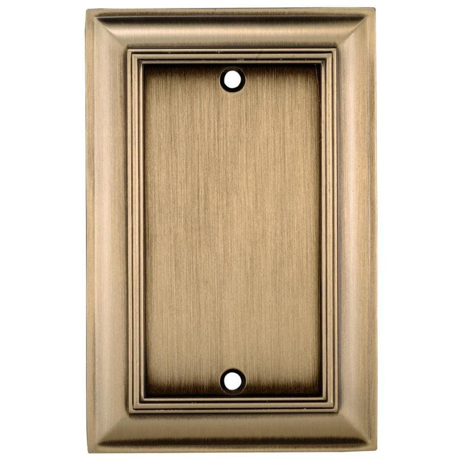 allen + roth 1-Gang Antique brass Single Blank Wall Plate
