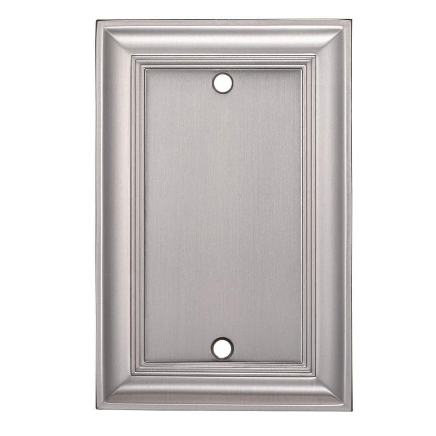 allen + roth 1-Gang Satin Nickel Blank Metal Wall Plate
