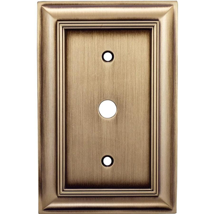 allen + roth 1-Gang Antique Brass Coax Metal Wall Plate