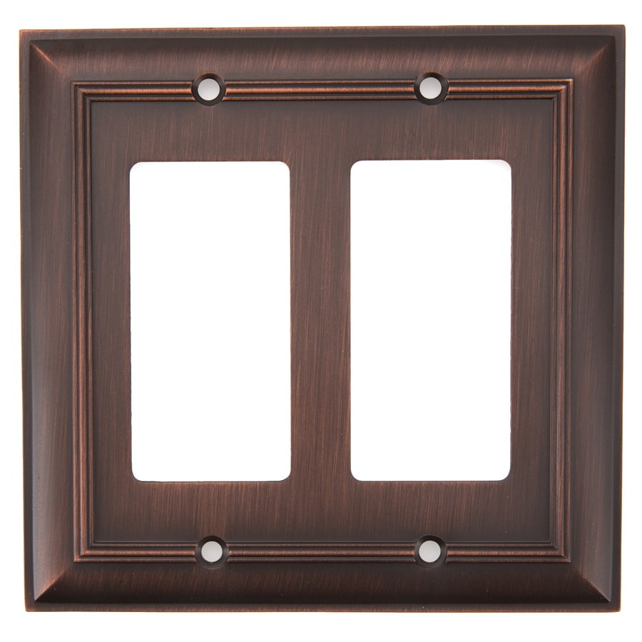 allen + roth Cosgrove 2-Gang Oil-Rubbed bronze Double Decorator Wall Plate