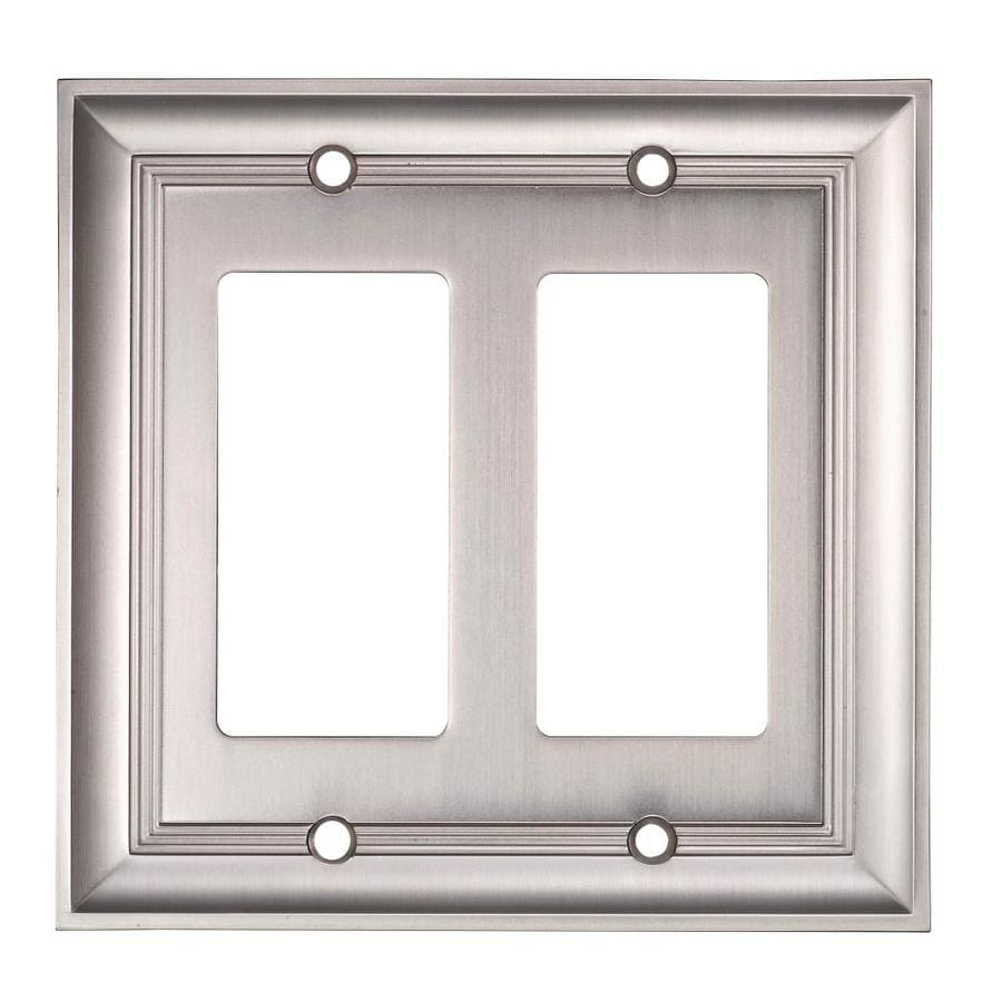 allen + roth 2-Gang Satin Nickel Decorator Rocker Metal Wall Plate