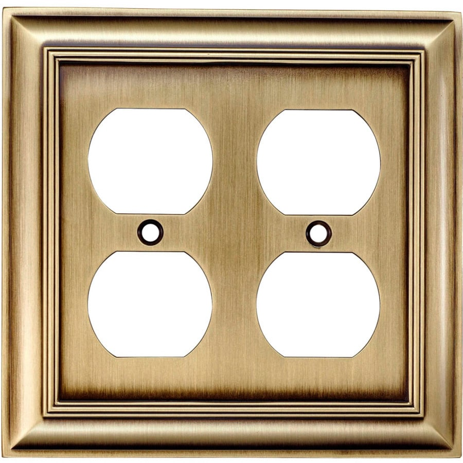 allen + roth 2-Gang Antique Brass Standard Duplex Receptacle Metal Wall Plate