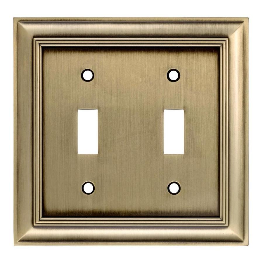 allen + roth 2-Gang Antique Brass Double Toggle Wall Plate